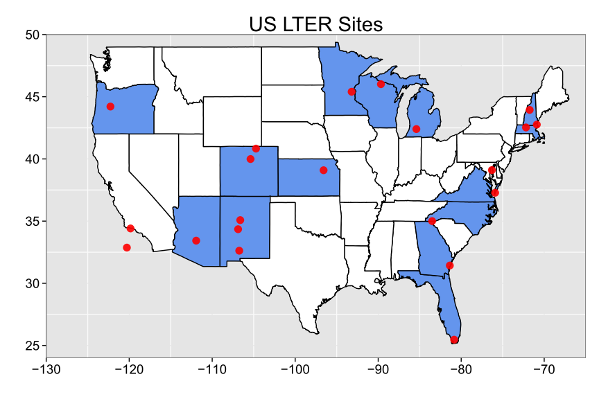 Mapping In R Part I SampleECOLOGY - R code for a us map
